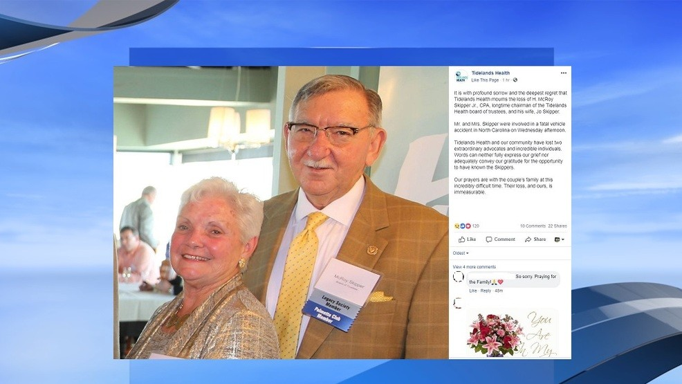 Tidelands Health board chairman, wife killed in wreck in North